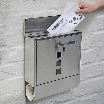 Stainless Steel Post Box Paper Holder Letter Mail Wall Mounted By Home Discount