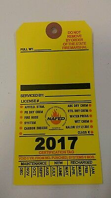 2017 Blank Yellow Fire Extinguisher Inspection Card Tag Office Boat (10 Pieces)