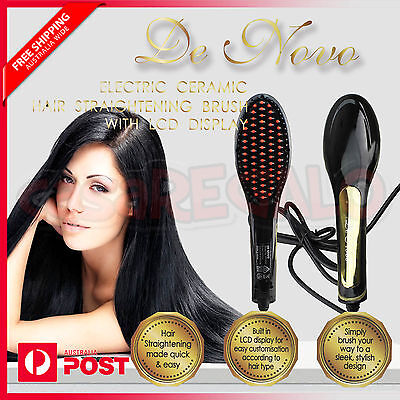 Hair Straightener LCD Brush Electric Straightening Comb Ceramic Heat De novo