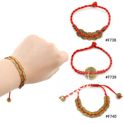 Chinese Traditional Feng Shui Wealth Lucky Coin Pendant Red String Bracelet