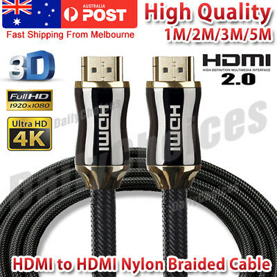 4K Ultra HD Premium HDMI Cable V2.0 Gold Plated 3D High Speed Ethernet 1m 2m 3 m