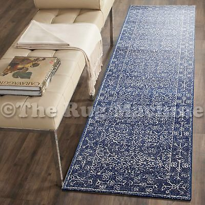 FORTUNA NAVY BLUE ALLOVER ANTIQUE STYLE TRADITIONAL RUG RUNNER 80x300cm **NEW**