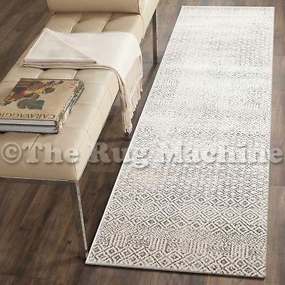 FORTUNA IVORY GREY MOROCCAN DIAMONDS STYLE MODERN RUG RUNNER 80x300cm *NEW**
