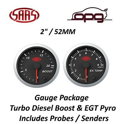 Saas Streetline Series Diesel Egt & Boost 52Mm Analog Gauge Combo Black Face