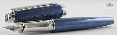 Caran D'ache Leman Grand Bleu Silver Plated And Rhodium Coated Fountain Pen(V-2)