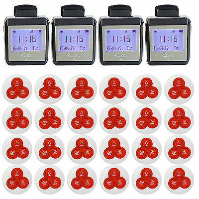 Restaurant Wireless Waiter Calling Paging System Set Watch Receiver+Button Pager