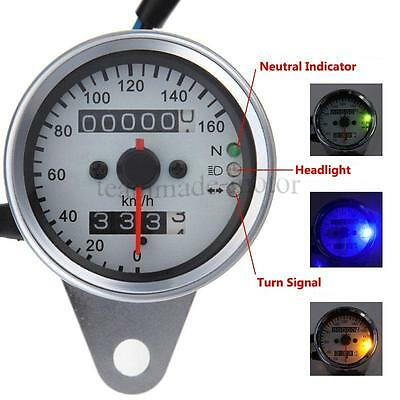 Universal Dual Speedometer Odometer with LED neutral light Fits Harley Davidson