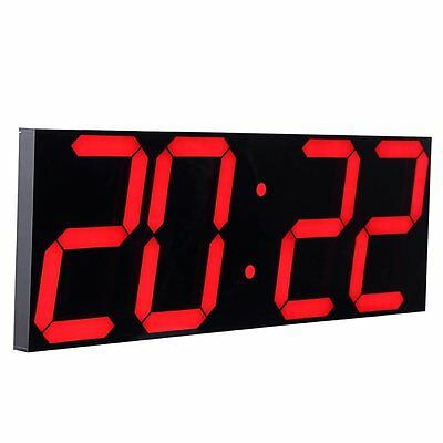 Large Remote Led Digital Wall Clock Red Alarm Watch Timer Countdown Thermometer