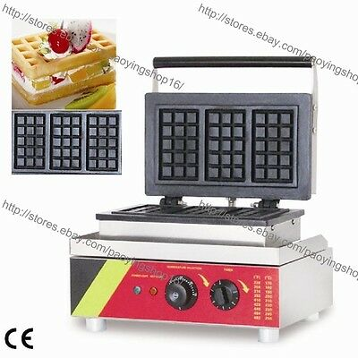 Commercial Nonstick Electric Rectangular Belgium Waffle Maker Iron Baker Machine