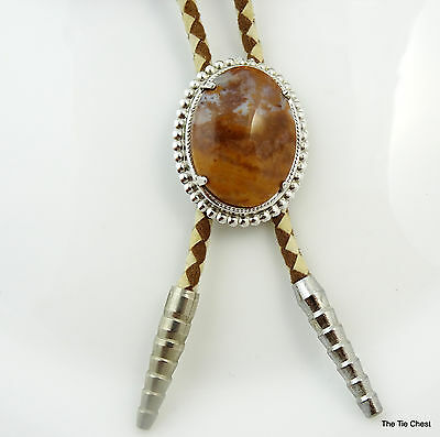 Bolo Tie with Beautiful Oval Stone Brown