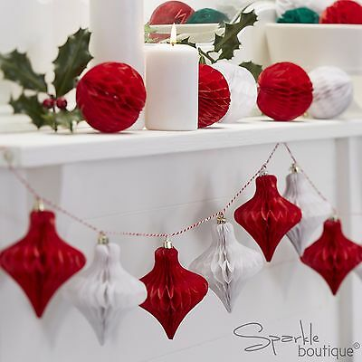 CHRISTMAS HONEYCOMB BAUBLE GARLAND - Vintage Xmas Bunting / Hanging Decoration
