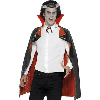 Men's Women's PVC Reversible Red & Black Halloween Dracula Cape Fancy Dress Fun
