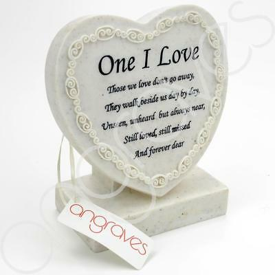 One I Love Textured Heart Graveside Memorial Ornament Plaque With Verse