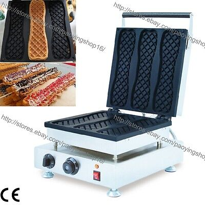 Commercial Nonstick Electric 3pcs Pizza Waffle Stick Maker Iron Baker Machine