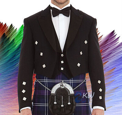 Prince Charlie Jacket And 3 Button Waistcoat Black Color All Sizes 100% Wool