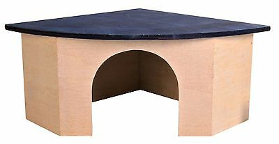 Wooden Corner House with Roof Lying Area for Guinea Pigs Rats Degus