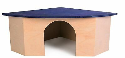 Wooden Corner House with Roof Lying Area for Small Rabbits Chinchillas