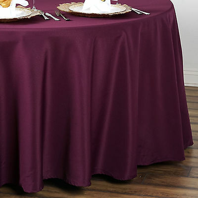"6 pcs Eggplant Purple 90"" ROUND POLYESTER TABLECLOTHS Trade Show Booth SALE"