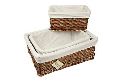 Wicker Storage Basket With Lining Xmas Gift Hamper In Sml,Med or Lrg