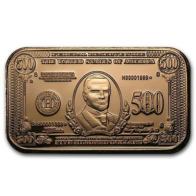 Cuivre Lingot 500 Dollars 1 once - 1 Oz copper 500 $ William McKinley