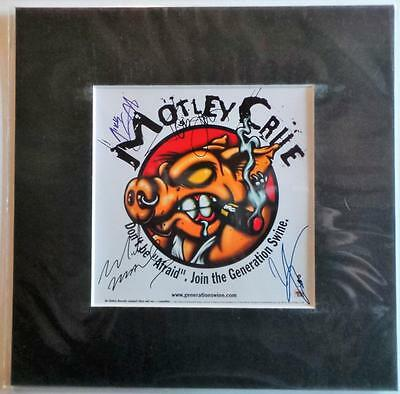 """Motley Crue Generation Autographed Pre Print 10"""" X 10"""" With Mount Ready To Frame"""