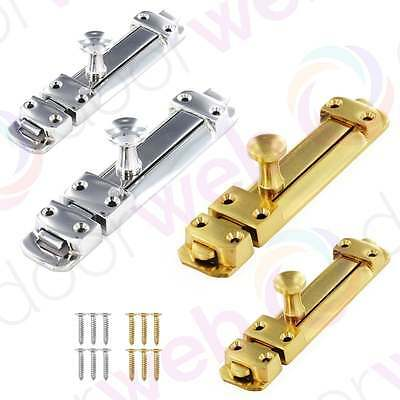 SLIDING DOOR BOLT CHROME BRASS Dead Lock Heavy Duty Security Slide 100mm 150mm
