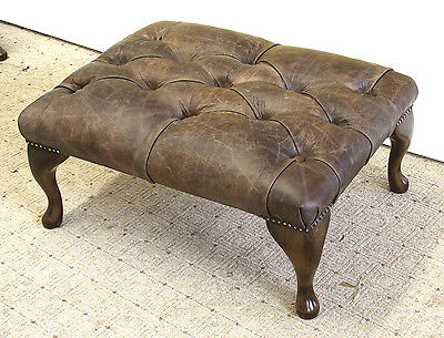Chesterfield Queen Anne Buttoned Footstool in Vintage Brown Leather