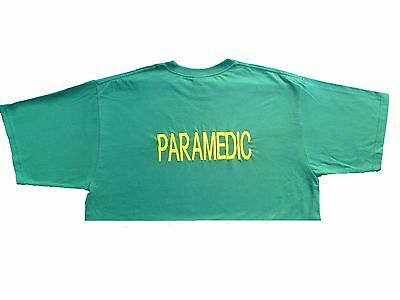 Green PARAMEDIC Embroidered T Shirt for Medic Ambulance First Responder Uniform