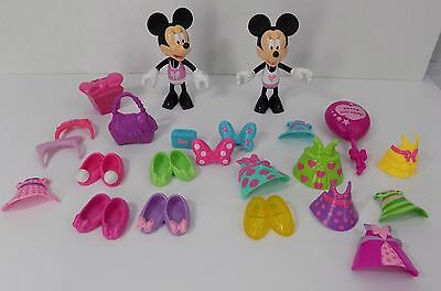 Fisher Price Minnie Mouse bowtique Snap n Style 2 Dolls with Clothes  MLD 23pc