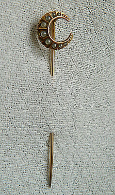 Victorian Moon Crescent Hat Pin Gold Filled  Natural Pearls Designed  By Fix