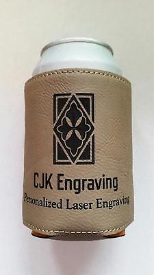 Personalized Laser Engraved Leather Koozie Beverage Holder Wedding Favor Gift