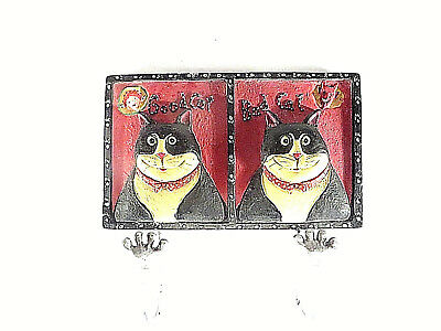 Ceramic Good Cat Bad Cat Black Cats Wall Placque with Cat Paw Hooks