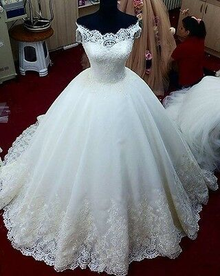 Wedding Dresses Bridal Ball Gowns Princess Sexy Lace Up Bling Beads Custom Made