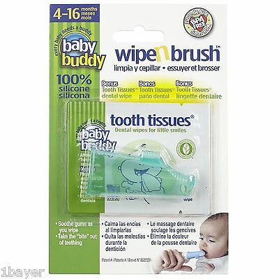 Baby Buddy Wipe N Brush Silicone Toothbrush Oral Dental Wipe Assistant Green