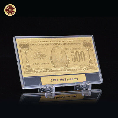 WR Gold Note $500 America 999 Gold Plated Banknote Collectible /w Display Frame
