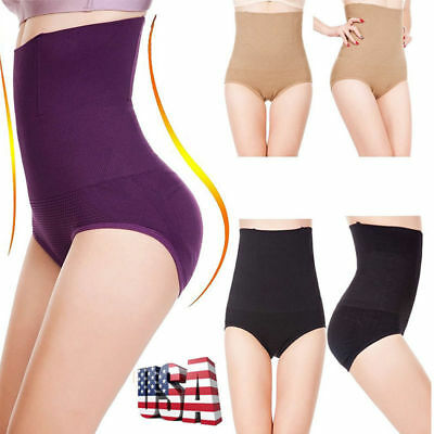 Women High Waist Body Shaper Brief Underwear Tummy Control Panties Shapewear LB@