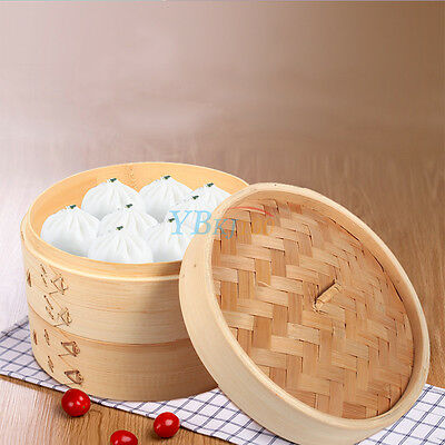 New 2 Tier Bamboo Steamer Set Home Cookware with Lid for Dim Sum Rice Pasta Meat