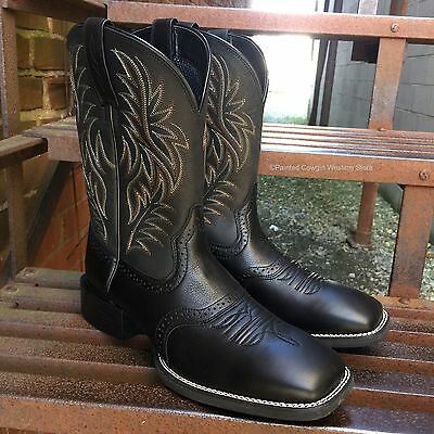 Ariat Men's Black Sport Wide Square Toe Western Boots 10016292
