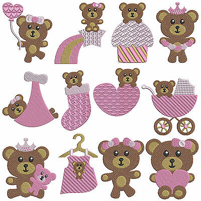 BABY BEARS GIRL * Machine Embroidery Patterns * 12 designs