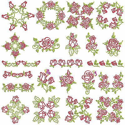 SATIN ROSES * Machine Embroidery Patterns * 22 Designs, 2 Sizes
