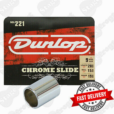 Jim Dunlop J221 Chromed Steel  Short Guitar Slide. Cutting Bright Metalli C Tone