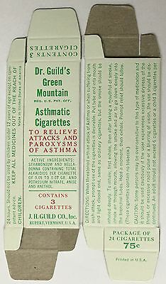 1 Dr Guild's Green Mountain Asthmatic Cigarettes Pack Asthma - Vermont Usa 1940