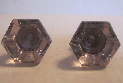 Lot of 2 Antique Purple Amethyst Glass Phonograph Knobs Vintage Pulls (#29A)
