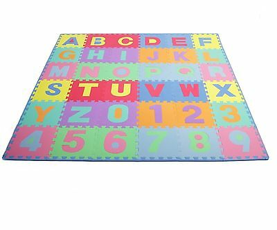 ProSource Kids Puzzle Alphabet and Numbers 36 Tiles with Edges Play Mat