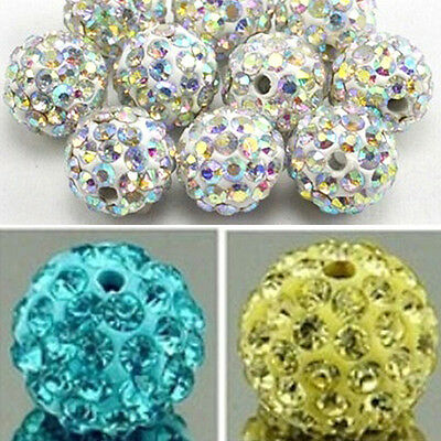 20Pcs 10Mm Czech Rhinestones Pave Clay Round Disco Ball Spacer Beads First-Rate