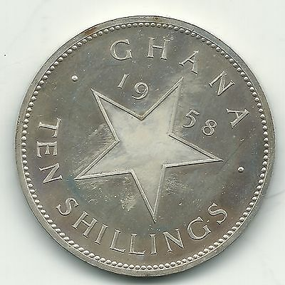 High Grade Proof 1958 Ghana 10 Shillings Silver Coin-Oct614