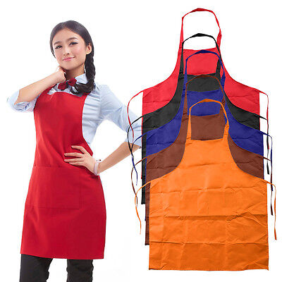 Sleeveless Simple Adjustable Plain Apron with Front Pocket Butcher Chefs I6