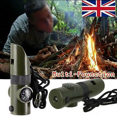 7in1 Multi-function Survival Tool Emergency Kit W/ LED Light Whistle Outdoor New