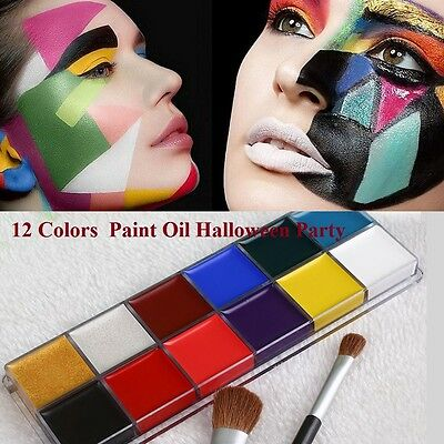 Professional 12 Colors Face Body Paint Oil Make Up Halloween Party Set safety