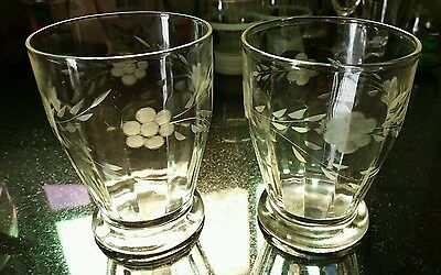 1930,s depression glass Diamond cut glasses.vintage x2 clear glass
